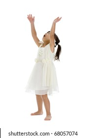cute girl trying to catch something, isolated on white background