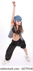 Cute girl in various dance costumes and fun poses