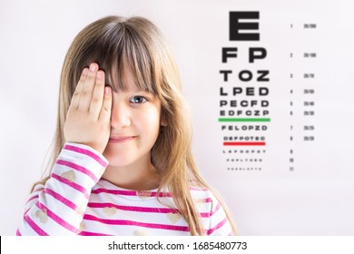 Cute girl visiting children's doctor. Eye examination. Ophthalmology test. Copy space