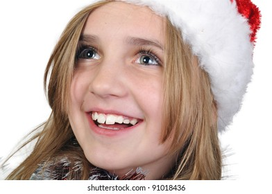 cute girl wearing a Santa Clause hat