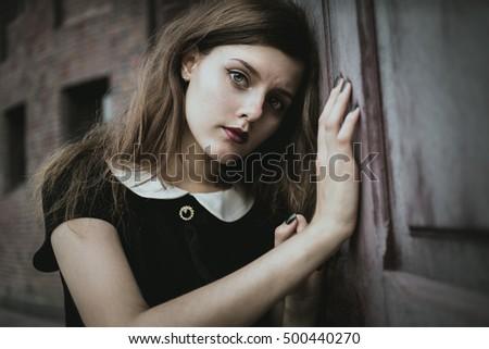 Cute Goth Girl Wearing Black Dress Stock Photo Edit Now 500440270