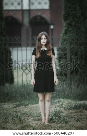 5a7fdf78a883 Cute Goth Girl Wearing Black Dress Stock Photo (Edit Now) 500440297 ...