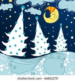 Cute greeting card - Christmas forest at night