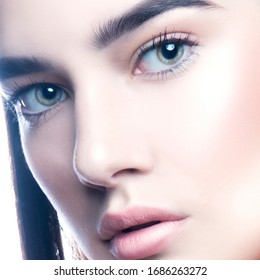 Cute grl face headshot. Beauty close-up woman beautiful fashion portrait with natural lips, healthy skin, blue eyes