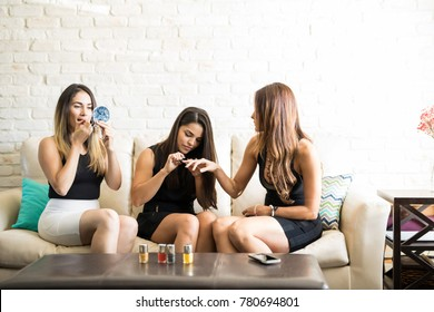 Cute group of women all dressed up and getting ready for a girls night out