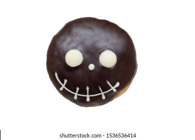 Cute Halloween donuts treat with chocolate frosting isolated on white background