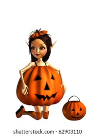 cute halloween trick or treater girl in pumpkin dress