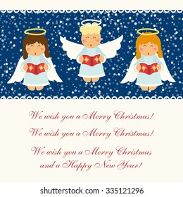 Cute hand drawn Christmas angels characters singing festive songs