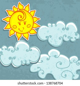 Cute hand drawn style paper Sun and clouds illustration