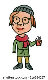 Cute hand drawn watercolor cartoon girl drinking hot coffee or tea