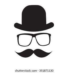 Cute Handdrawn Glasses, Hat and a Mustache Illustration