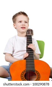 cute handsome little boy with the guitar