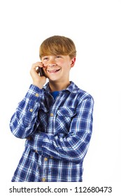 cute handsome young boy speaking a mobile phone