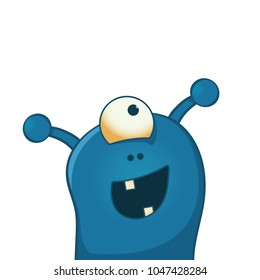 Cute and happy alien with one big eye - funny cartoon illustration
