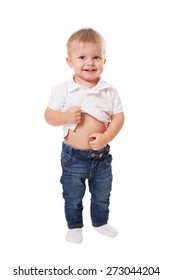 Cute happy baby boy kid touching his stomach, isolated on white