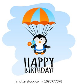 Cute happy birthday card with funny parachute penguin