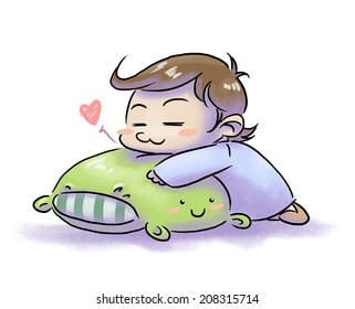 cute happy child sleeping on a pillow with face - white background