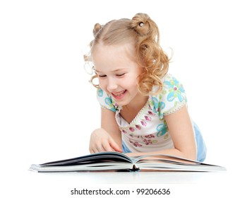 cute happy little girl reading a book