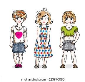 Cute happy little girls posing in stylish casual clothes. diversity kids illustrations set. Childhood and family lifestyle cartoons.
