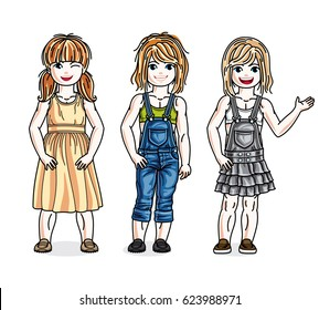 Cute happy little girls posing in stylish casual clothes. diversity kids illustrations set.