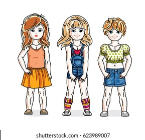 Cute happy little girls posing wearing casual clothes. diversity kids illustrations set.