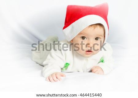 ccc8f776fb4 Cute Happy Newborn Baby Christmas Hat Stock Photo (Edit Now ...