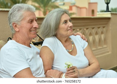 Cute happy senior couple outdoors