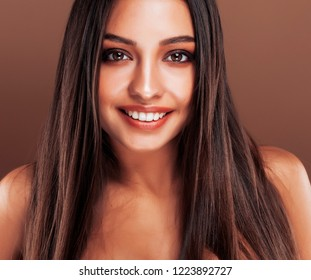 cute happy young indian woman in studio close up smiling, fashion  smiling