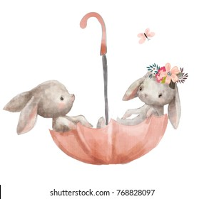 cute hares on umbrella