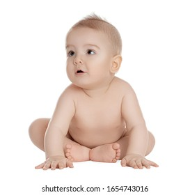 Cute healthy little baby on white background