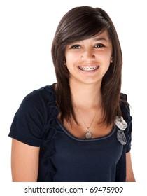 Cute Hispanic teenage girl with braces and a big smile