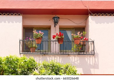 cute house balcony in a town of mexico