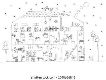 Cute house with dancing people
