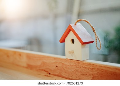 Cute house wood model and free copy space, Real estate concept ,Home loan