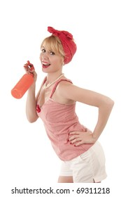 Cute housewife with power cleaning sprayer isolated on white