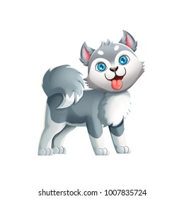 Cute Husky Dog! Video Game's Digital CG Artwork, Colorful Concept Illustration, Realistic Cartoon Style Characte