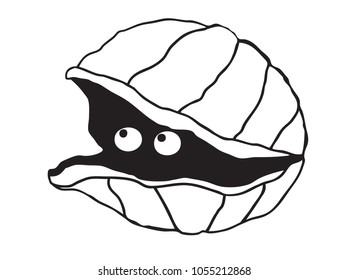 Cute illustration of a simple clam with eyes look out of the shell.