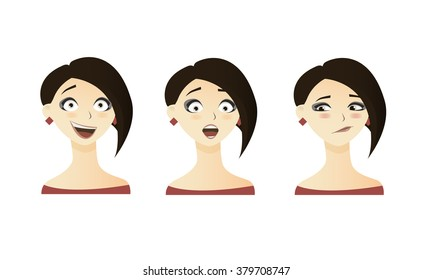 Cute illustrations set of beautiful young brunette hot hair girl with various emotion.