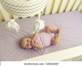 Cute Infant Baby in Purple Crib looking Up at Elephant Mobile