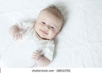 Cute infant girl on white background