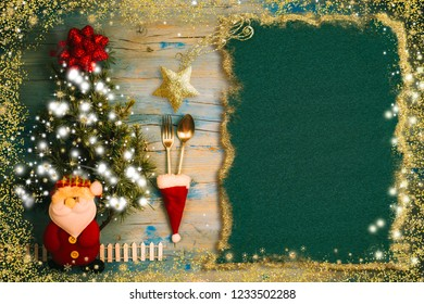 Cute invitation background for Christmas menu. Blank paper for text ,vintage kitchen utensils, Santa and tree in a magical atsmofera