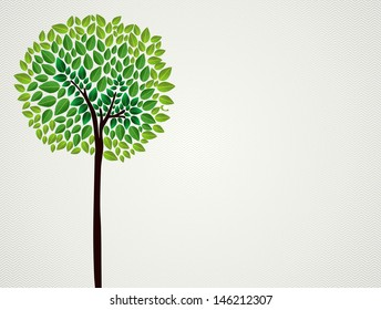 Cute  isolated green tree hand drawing.