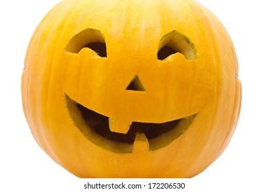 Cute Jack O Lantern halloween pumpkin on white background