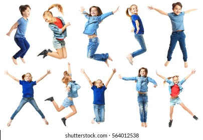 Cute jumping children on white background