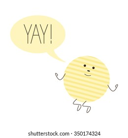 Cute jumping chips character with speech bubble with lettering yay with exclamation mark isolated on white background
