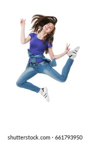 Cute jumping girl on white background