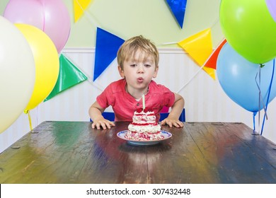 Cute kid blowing out a birthday candle