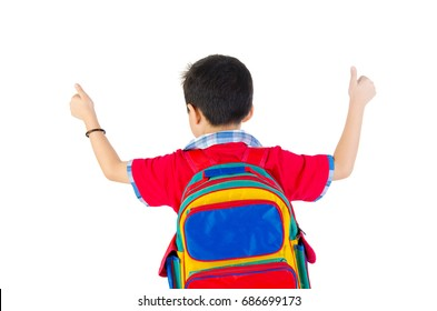 cute kid or boy leaving or going to school with small school bag, isolated over white background