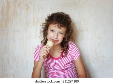cute kid eating ice cream.