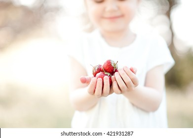 Cute kid girl holding strawberry outdoors. Selective focus.